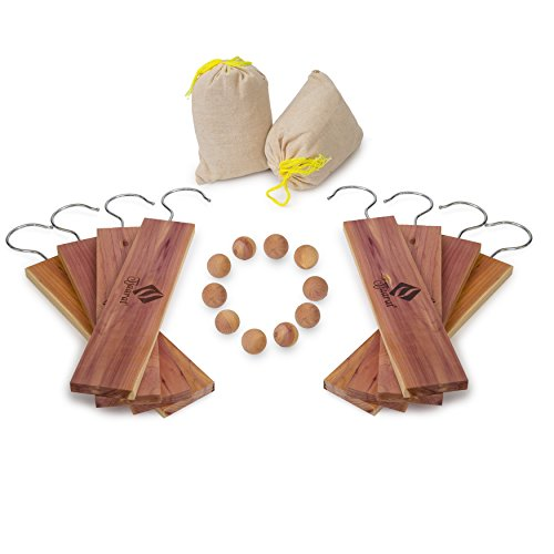 American Cedar Hang Ups for Closets Set | 10 Large Cedar Hangers & Cedar Balls, 2 Cedar Sachet | Aromatic Planks with 100% Natural Fragrance ● Best Clothes Moth Protection & Moth Repellent Deterrent