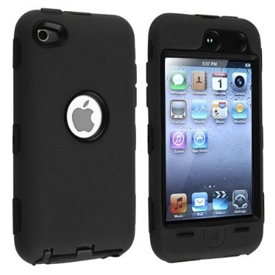 Black Hard / Black Skin Hybrid Case Cover compatible with Apple iPod Touch 4G, 4th Generation, 4th Gen 8GB / 32GB / 64GB