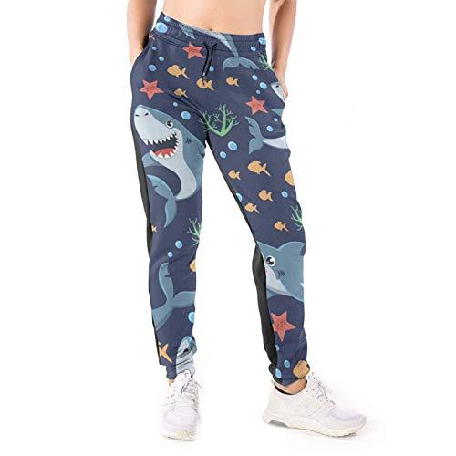 DOWNN Damen Sweatpants Cute Sharks Smile Baggy Hose Jogger Pants mit Kordelzug 3D Athletic Leggings Gr. L, weiß