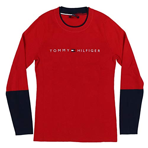 Tommy Hilfiger Womens Sweater Color Block Sleeve (Large, Red)