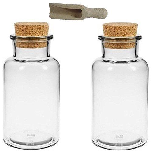 2 Gewürzgläser 300ml Glasdosen Teedosen mit Kork-Verschluss Korkengläser, inkl. einer kleinen Holzschaufel
