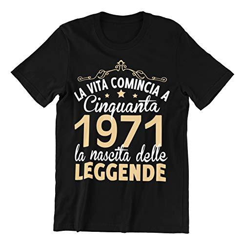 Vulfire Maglietta Uomo La Vita Comincia a Cinquanta 1970 Leggende (Nero, L)