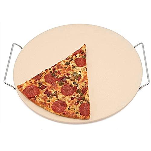 DZAY Piedra Pizza Piedra para Pizza de Cordierita Piedra para Horno Redonda para Pizza O Pan Bandeja Piedra para Pizza Gourmet Cerámica Piedra Pizza para Parrilla 13.8 * 13.8 * 2in