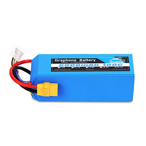 YOWOO 6S Graphene Battery 6000mAh 100C 22.2V Lipo Batteries with XT90 Plug for Mikado Logo 550, Align T-REX 550 600 700, Sab Goblin 630, Large Multirotors, EDF Jets, 600 to 700 Size RC Helicopters