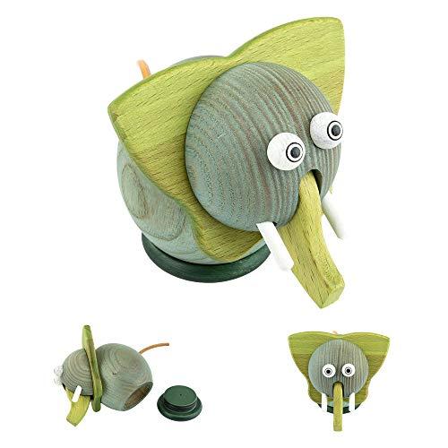 Milchzahndose für Jungen & Mädchen aus Holz - Mäuse Zahndose für Milchzähne und kleine Schätze - Aufbewahrungsbox für die Zahnfee (Elefant, Grün)