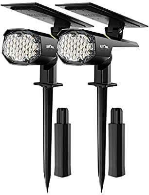 LITOM 30 LEDs Outdoor Solar Landscape Spotlights PRO IP67 Waterproof Wireless Solar Powered Landscaping Wall Light for Yard Garden Driveway Porch Walkway Pool Patio Cold & Warm White Adjustable 2 Pack