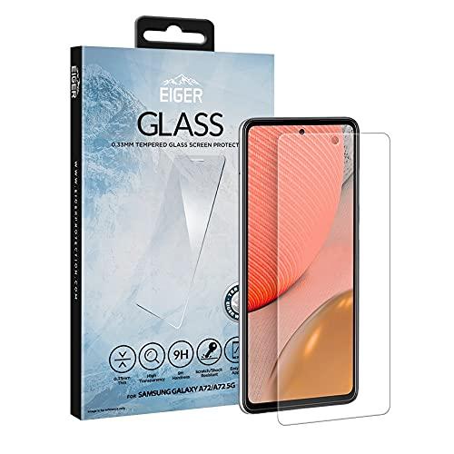 EIGER 2.5D Glas für Samsung Galaxy A72/A72 5G Premium Tempered Glass Screen Protector in Klar mit Reinigungsset