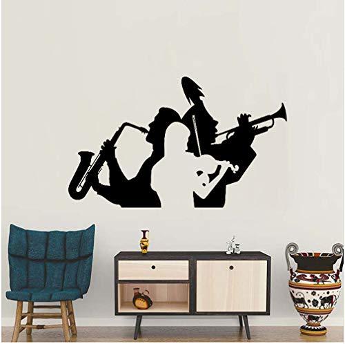 Hllhpc Muziek Saxofoon Trompet Viool Tattoos Muursticker Sticker Rubber voor de woonkamer Decoratie Band Muurafbeelding Groot Woonkamer muur 93 x 56 cm