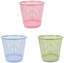 Trash Can, Container Plastic Wastebasket Simple No Cover Garbage Basket Hollow Three Packs Suitable for Indoor-17.5 * 24.5...