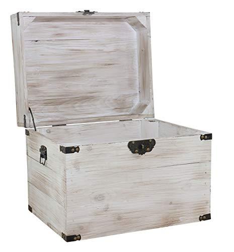1x braune Holzbox mit Deckel | 45x35x35 cm | Neu | schöne Metallbeschläge veredeln die Truhe, Stauraum für Deko, Bilder, Filme