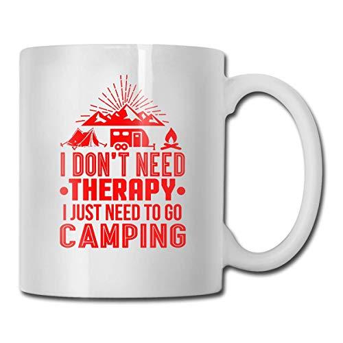 JUST Need to Go Camping Taza, taza de café para bebidas calientes, taza de gres, taza de café de cerámica, taza de té de 11 oz, regalo divertido, taza de té y café