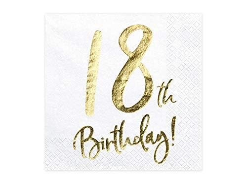 jakopabra Geburtstagsservietten mit Gold-Druck (Zahl 18)