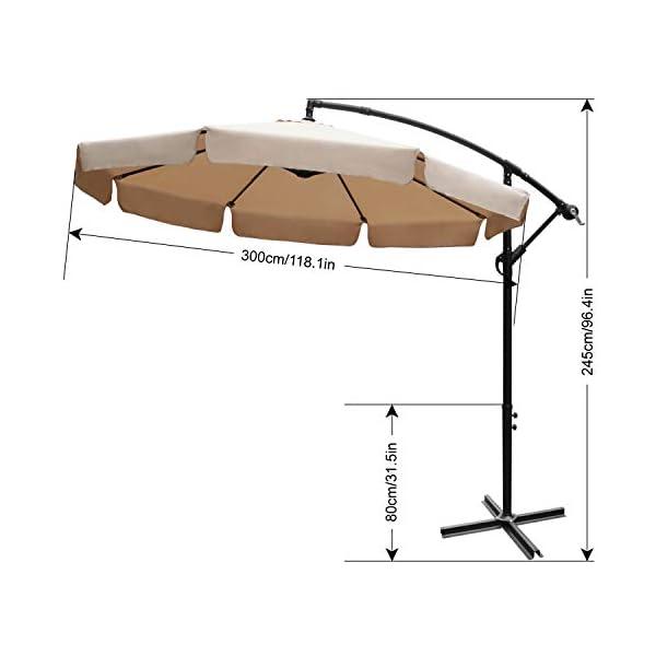 ABCCANOPY 270cm Sonnenschirm,Marktschirm Gartenschirm Terrassenschirm,Gestell Stahl,Hellgrau