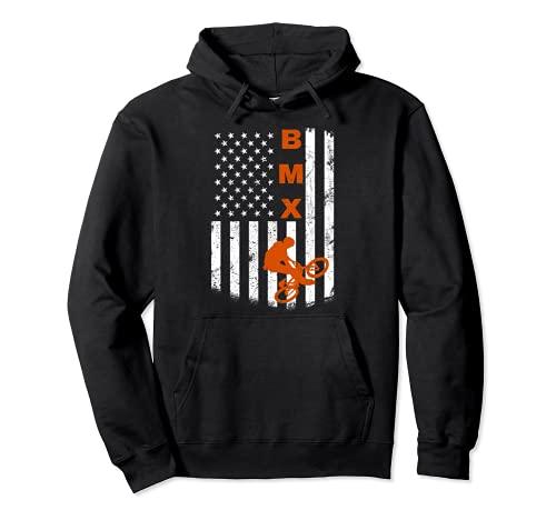 BMX Bike Sport USA bandiera americana per Motocross Bike Fan Felpa con Cappuccio