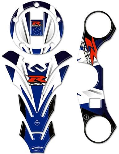Kit de Pegatinas 3D Protecciones Compatible con Suzuki Gsx-R 600-750 de 2006 Al 2016 y Gsx-R 1000 de 2007 Al 2008 - Azul y Rojo