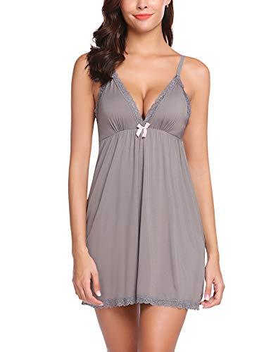 ADOME Damen Dessous Chemises mit v-Ausschnitt in voller schlupfbabydoll nachtgown Kleid xx-Large Style 1-dunkel-grau
