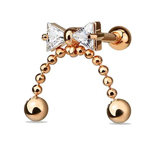 Piercing para trago o cartílago de oreja de acero quirúrgico 316L, chapado en oro rosa de 14 K y óxido de circonio – nudo y cadenas colgantes