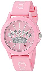 in budget affordable Juicy couture black label ladies watch, light pink silicone strap and glitter