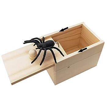 Rtudan Original Spider Scare Prank Box Hilarious Wooden Scare Box,Handmade Fun Joke Scarebox Toy,Practical Gift Toy Spider Box Prankoy Prank for Kids Adults