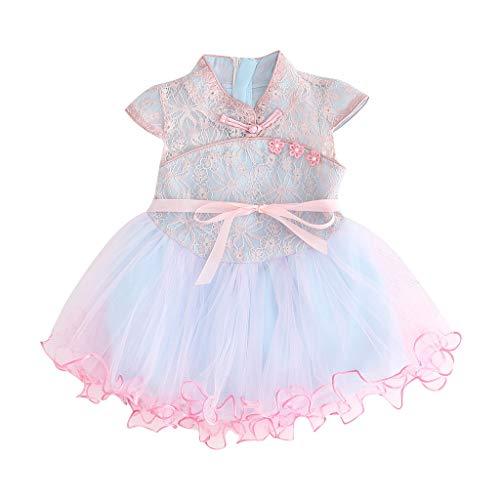 Frashing-Mädchen Kleider Frashing Kleinkind Kid Baby Girl Floral Bedruckte Spitze Patchwork Cheongsam Princess Dress Rock Koreanischer Stil Elegant Kleid
