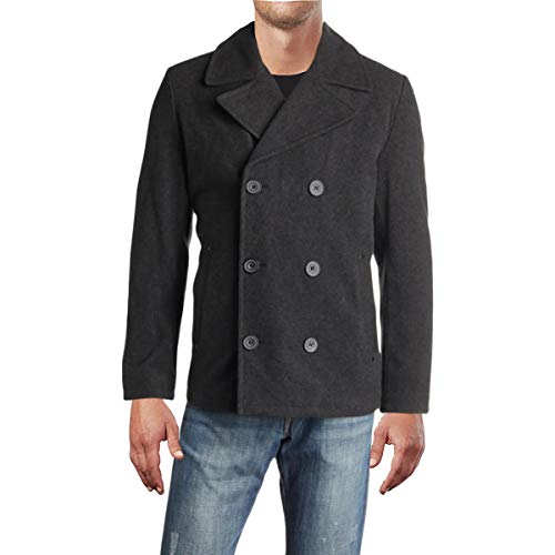 Kenneth Cole REACTION Mens Winter Wool Blend Pea Coat Gray XL