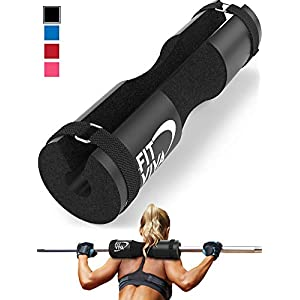 Fit Viva Barbell Pad for Standard and Olympic Barbells with Safety Straps Bonus 30 Day Challenge from Foam Pad for Weightlifting, Hip Thrusts, Squats and Lunges