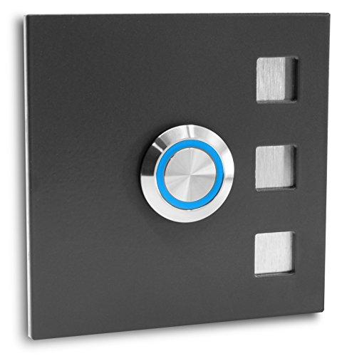 Jung-Edelstahl-Design Türklingel ohne Gravur Köln Klingelplatte 7 x 7 cm. Led Taster anthrazit RAL7016 pulverbeschichtet Klingelschild V2a Edelstahl (LED blau)