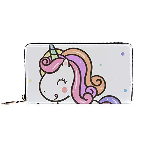 Cartera con Cremallera Alrededor y Embrague de teléfono, Bolso de Viaje de Piel, Organizador de Tarjetas, Cartera de Mano, diseño de Unicornio y Pastel de Feliz cumpleaños Dulce Postre Kawaii Pony