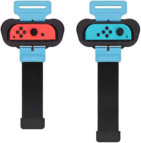 AiMok [2 Piezas] Muñequeras Compatible con Nintendo Switch Just Dance 2021/2020/2019, Dos Tamaños para Adultos y Niños, Bandas de Muñeca Elástica Ajustable para Joy con Controller