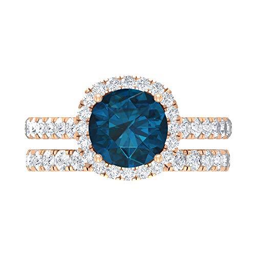 Solitär Brautring Set, 3,28 ct Runde Edelsteine, HI-SI Diamant 8 mm Blautopas London, Kathedrale Verlobungsring, stapelbarer Gold Ewigkeitsring, 18K Roségold, Size:EU 69