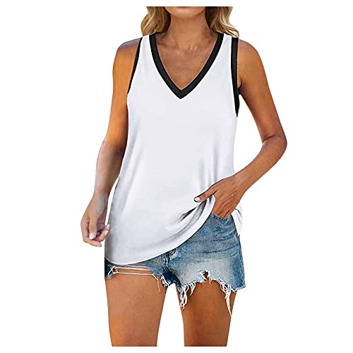 YHAIOGS Racerback Tank Tops For Women Workout Shirts For Women Black Blouse Cami Tank Tops For Women Plus Size Women's Normal Tank V Neck Solid Color Loose Fit Sleeveless Shirt Tops