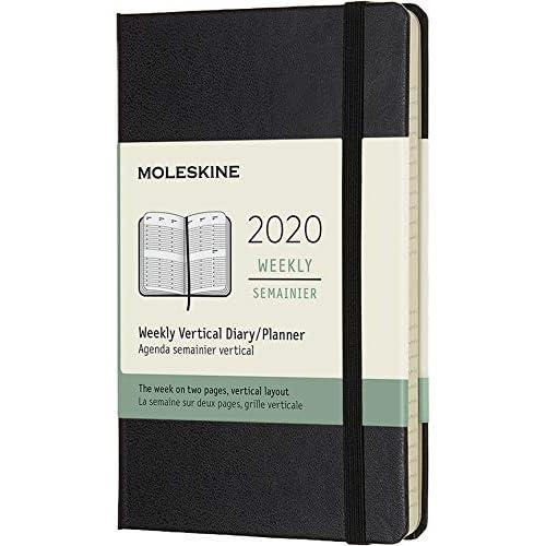(modello precedente) - Moleskine 12 Mesi, anno 2020 Agenda Settimanale Verticale, Copertina Rigida e Chiusura ad Elastico, Colore Nero, Dimensione Pocket 9 x 14 cm, 144 Pagine, 70 g/m²
