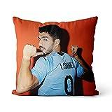 Funda de cojín Luis Suárez Throw Square Pillow Cover Ambos Lados Impresión Invisible Zipper Home Sofa Decor Funda de Almohada 16x16inch / 40x40cm