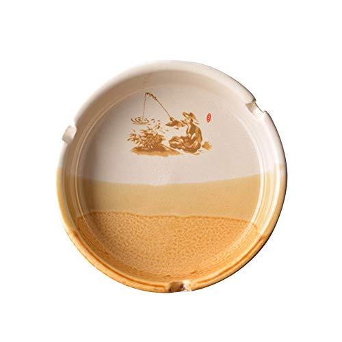 WXXKA Cenicero de Cerámica, Cenicero de Escritorio Práctico de Código Pequeño de Cosecha China, Suministros de Sala de Estar/Oficina, Decoraciones/Regalos, 10.5 * 3.2cm