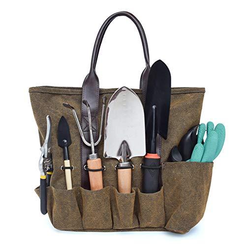 hothuishi Garden Canvas Tool Kit Bag, Durable Gardening Tool Tote Bag, Gardening Hand Tools Storage Bag, Best Gardening Gifts for Women and Men, Brown