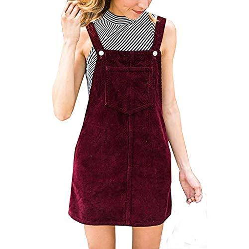 Kanpola Kleider Kanpola Kleider Damen Herbst Cord Straps Kurze Tasche gerade Weste Rock Kleid (XL/Gr 42, Z-Rot)