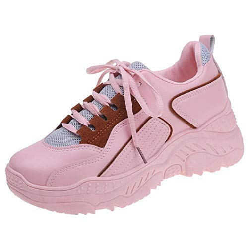 Zapatillas de Deporte Gruesas para Mujer Costura de Color sólido de PU Zapatos de Plataforma Casuales con Cordones Bajos Antideslizantes Zapatillas de Deporte de cuña para Mujer