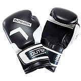 Gloves Guantes,Kickboxing Gloves Guantes de Boxeo para Hombres Mujeres Cuero Más Acolchado Saco de Boxeo sin Dedos Guantes para Kickboxing,Sparring,Muay Thai y Heavy Bag,Negro,8OZ,10OZ,12OZ,14OZ