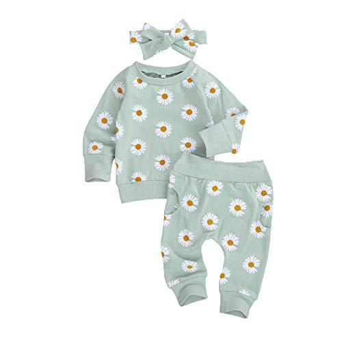 Geagodelia Conjunto de ropa de bebé con cuello redondo, estampado floral, margarita, conjunto de sudaderas de manga larga + pantalones 0-24 m Verde 18-24 meses