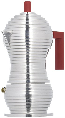 Alessi MDL02/3 R'Pulcina' Stove Top Espresso 3 Cup Coffee Maker in Aluminum Casting Handle And Knob in Pa, Red
