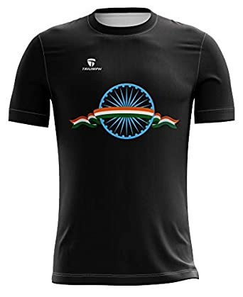 WARRIOR Triumph Men's Independence Day T Shirt Indian Flag Printed Round Neck Regular Fit Unisex Tricolor Republic Day Half Sleeve T-Shirt Polyester India Flag Design White Jersey for Men