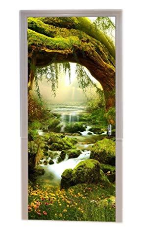 A.Monamour Türtapeten Selbstklebend 3D Mysteriöse Grüner Dschungel Bäume Ströme Regenwald Sommer Natur Landschaftskunst Dekor Türtapete Türposter Tapete 77x200cm
