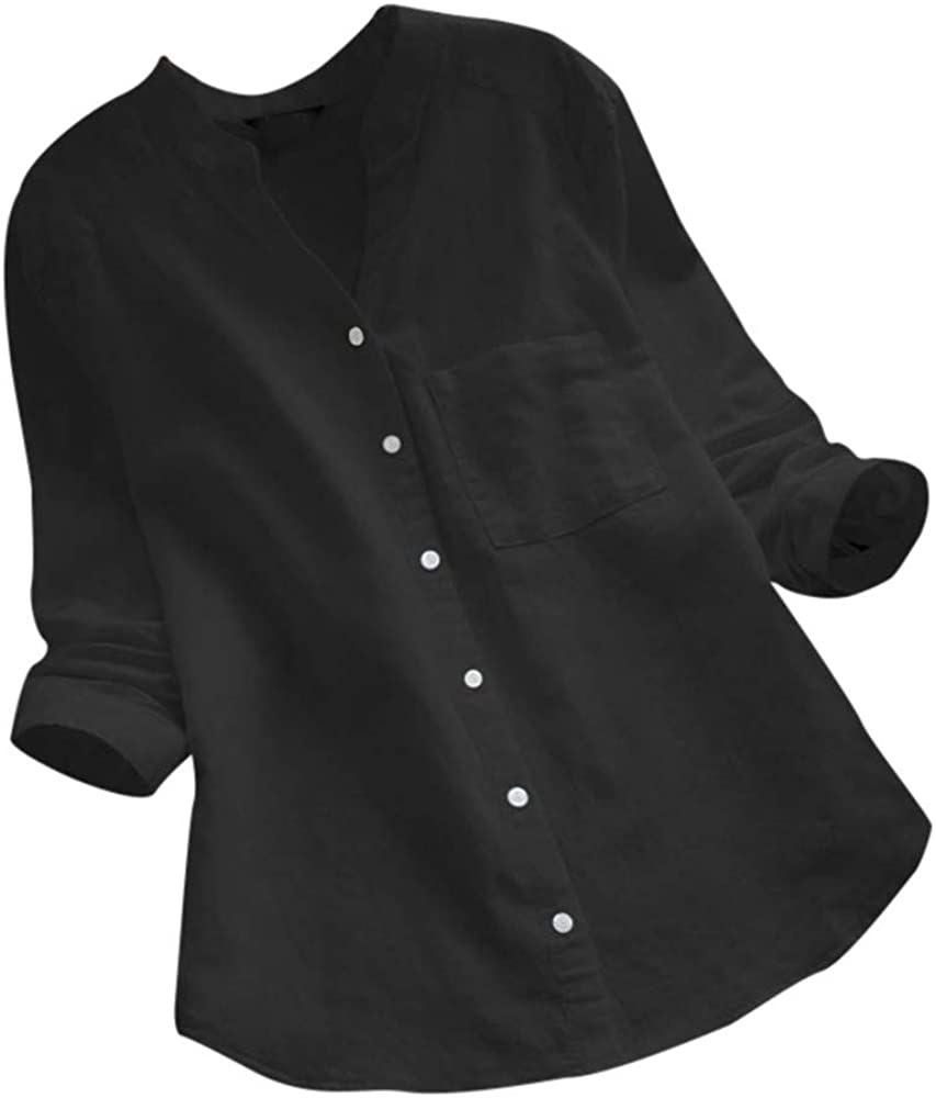 Meikosks Women's Cotton Linen Now free shipping Shirt Long safety Pocket Neck Sh V Sleeve