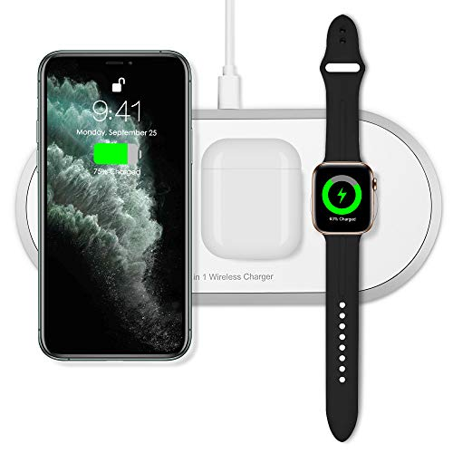 Torteco 3 in 1 Wireless Charger Pad Qi Fast Charging Station Compatible iPhone 11 Pro Max X XS MAX XR 8 8 Plus, Samsung, iWatch 1 2 3 4 5, Airpods and TWS pods, White
