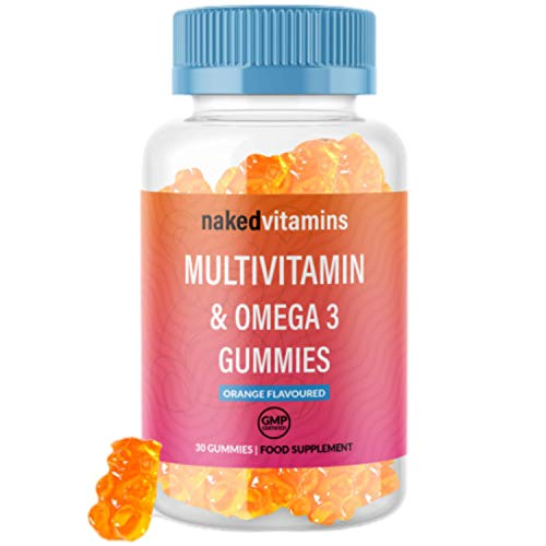 High Strength Chewable Multivitamin Orange Flavoured Gummies - 30 Count Essential Multivitamins & Omega 3 Supplement, with Vitamin C, A, B, D & Vitamin E for Adults & Kids