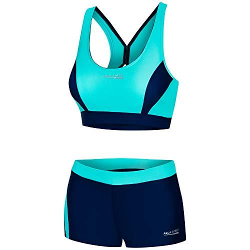 Aqua Speed Sportbikini Set Damen | Zweiteilige Badebekleidung | Zweiteiler | 2-Piece Swimsuit | Schwimmbikini Frauen | sportliche Bademode | Beachvolleyball | Gr. 38, 42 Türkis - Navy | Fiona