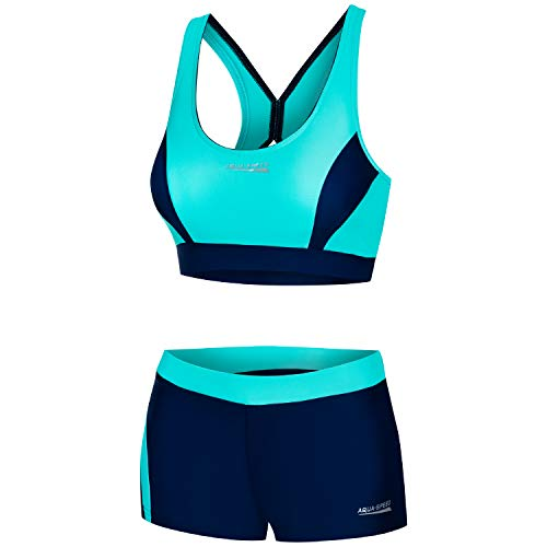 Aqua Speed Damen Sport Bikini Set | Bustier Two Piece Swimsuit | Zweiteilige Badebekleidung | Bikinis for Women | Schwimmbekleidung Frauen | Schwimmen | Gr. 40, 42 Türkis - Navy | Fiona