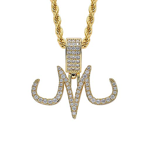 Union Power Cartoon Magic Tattoo Logo M Pendant Necklace Hip Hop Iced Out CZ Pendant Chain Gifts for Men Women Kids (Gold)