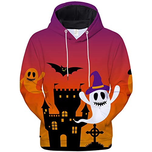 WBYFDC Sudaderas con Capucha 3D Halloween Calavera Calabaza Parodia Pareja Impreso Sudadera con Capucha Horror Casual Pullover Hombres Mujeres Streetwear