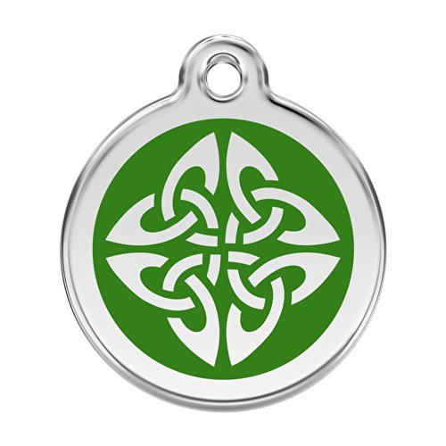 Red Dingo Custom Engraved Stainless Steel and Enamel Dog ID Tag - Celtic Knot (Green, Medium)
